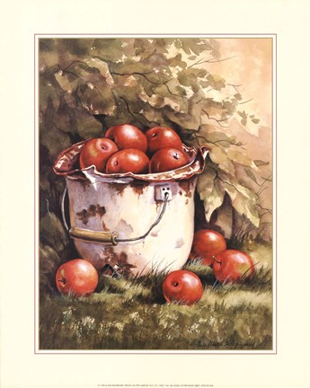 Framed Pail of Apples Print