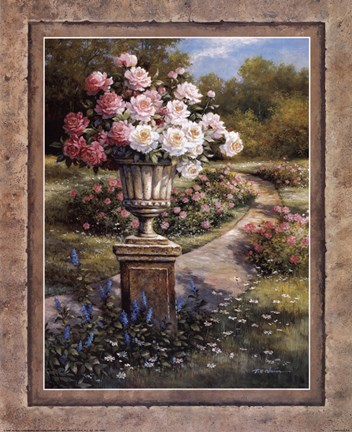 Framed Path with Flowers Print