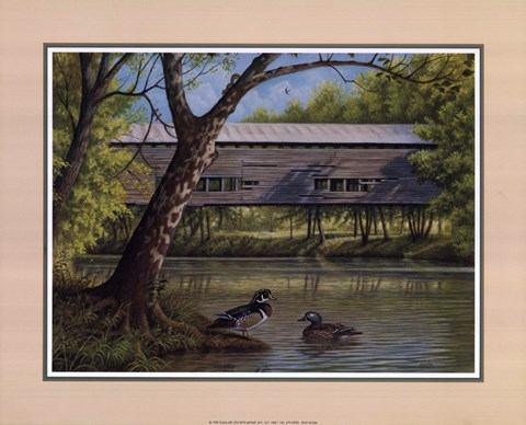 Framed Covered Bridge With Ducks Print