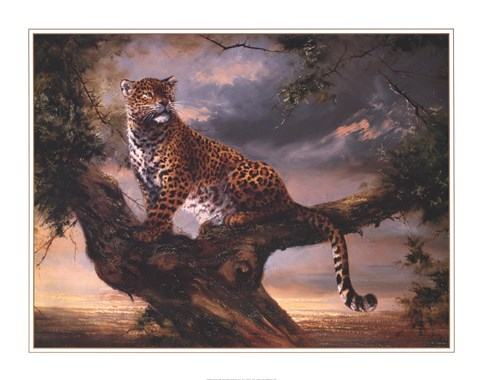 Framed Leopard In Tree Print