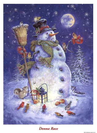 Framed Snowman's Feathered Fun Print