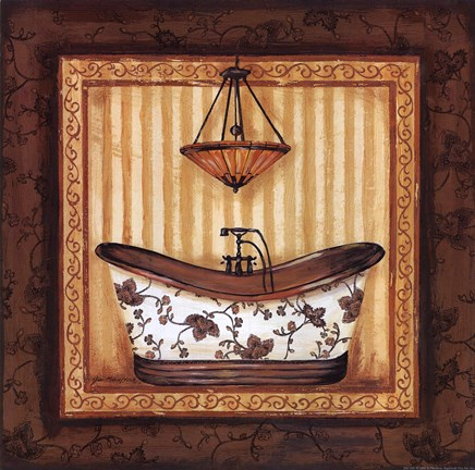 Framed Copper Paisley Bath I Print