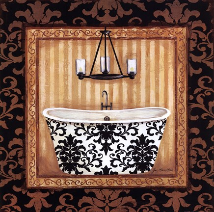 Framed Black Veranda Bath I Print