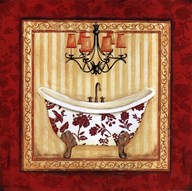 Red Demask Bath I Art