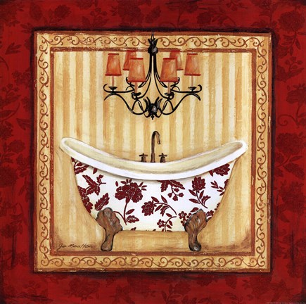 Framed Red Demask Bath I Print