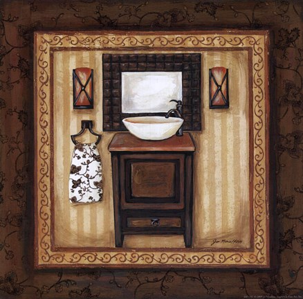 Framed Copper Paisley Bath II Print