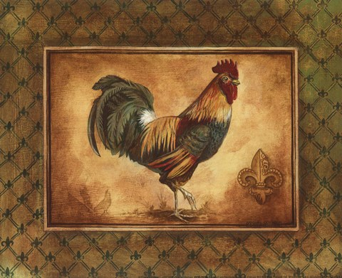 Framed Country Rooster I - mini Print