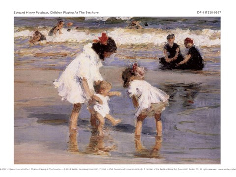 Framed Children Playing At The Seashore Print
