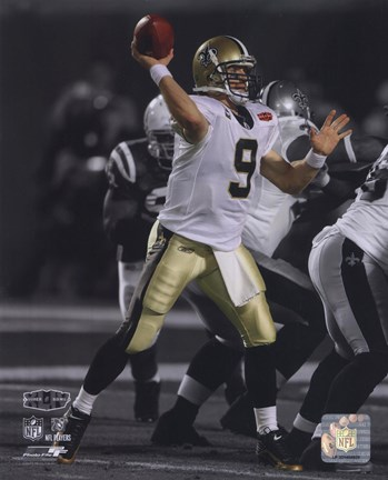 Framed Drew Brees Super Bowl XLIV Spotlight Action (#22) Print