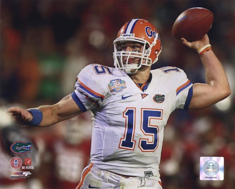Framed Tim Tebow University of Florida Gators 2009 Action Passing Print