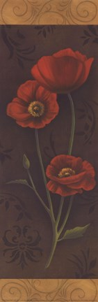 Framed Red Poppy Panel I - mini Print