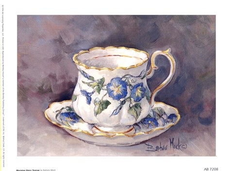 Framed Morning Glory Teacup Print
