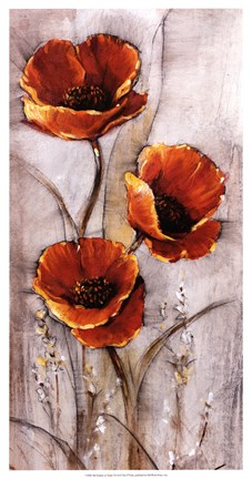 Red Poppies On Taupe I Fine Art Print By Timothy O Toole