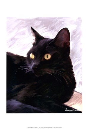 Framed Black Cat Portrait Print