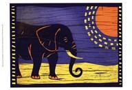Woodblock Elephant  Fine Art Print