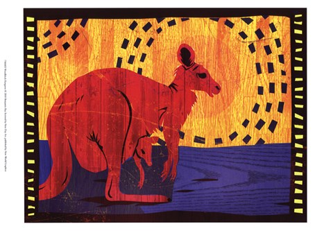 Framed Woodblock Kangaroo Print