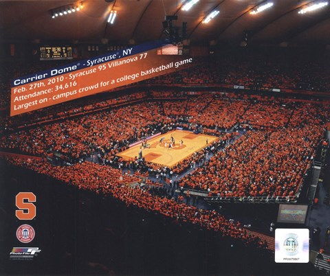 Framed Carrier Dome Record Breaking Crowd Syracuse Vs. Villanova with Overlay Print