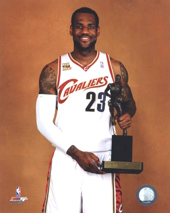 Lebron James With The 2009 10 Mvp Trophy Fine Art Print By