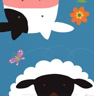 Farm Group: Cow and Sheep Art