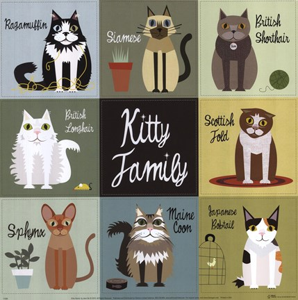 Framed Kitty Family Print