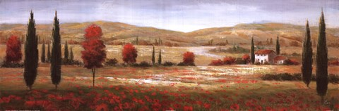 Framed Tuscan Poppies I Print