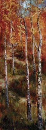 Framed Autumn Birch Path Print
