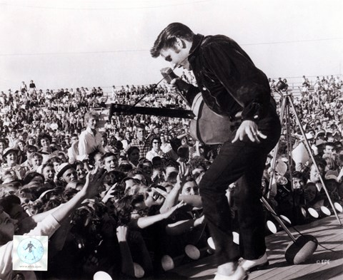 Framed Elvis Presley on stage with fans (#1) Print