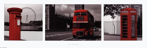 Framed London - Red Triptych Print