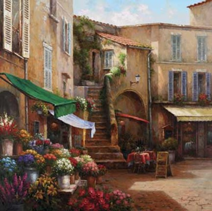 Framed Flower Market Courtyard Print