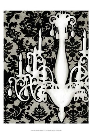 Framed Small Patterned Chandelier I (P) Print