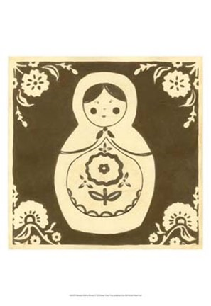 Framed Russian Doll in Brown Print