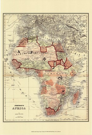 Framed Small Antique Map of Africa (P) Print