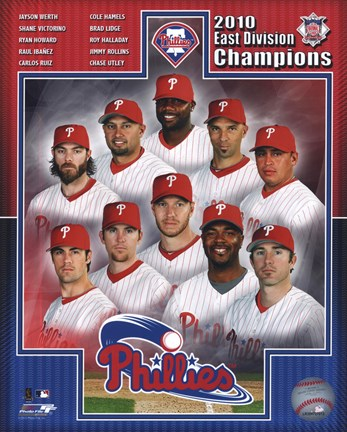 Framed Philadelphia Phillies 2010 NL East Division Champions Composite Print