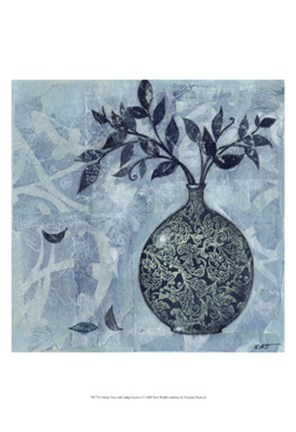 Framed Ornate Vase with Indigo Leaves I Print