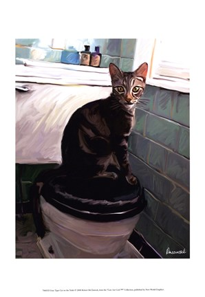 Gray Tiger Cat On The Toilet Fine Art Print By Robert