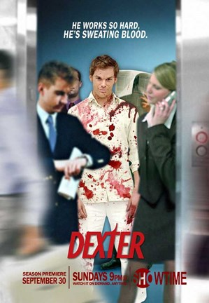 Framed Dexter - He Works so Hard, he's sweating blood. Print