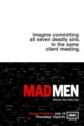 Framed Mad Men - imagine committing all seven deadly sins. Print
