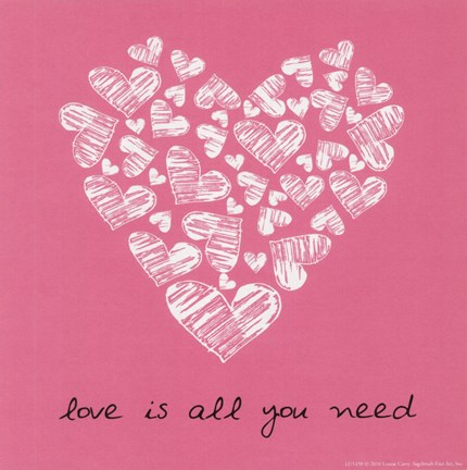 Framed Love Is All You Need - Pink Print