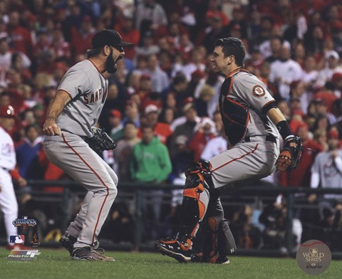 Framed Buster Posey & Brian Wilson Celebrate winning the 2010 NLCS Print