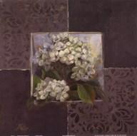 Hydrangeas on Brown I  Fine Art Print