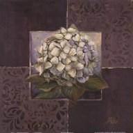 Hydrangeas on Brown II  Fine Art Print