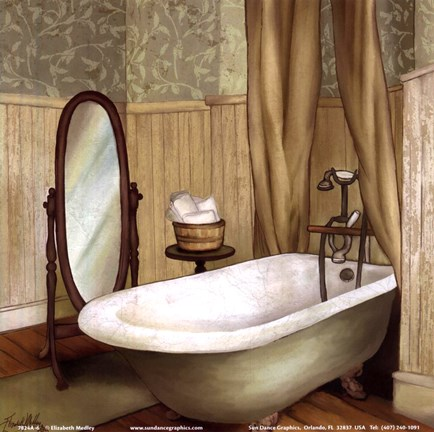 Framed Green Farmhouse Bath II Print
