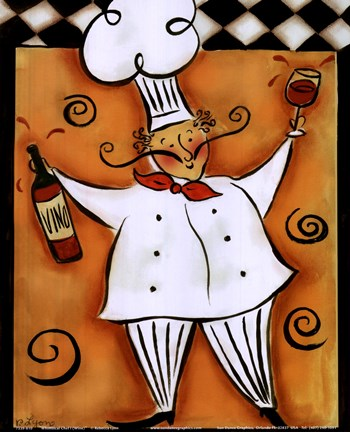 Framed Whimsical Chef I (wine) Print