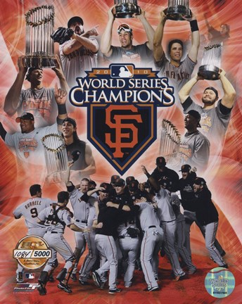 Framed San Francisco Giants 2010 World Series Champions PF Gold Print