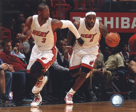 Framed Dwyane Wade & LeBron James 2010-11 Action Print
