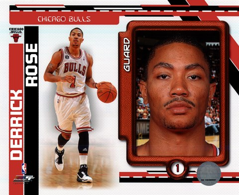 Framed Derrick Rose 2010-11 Studio Plus Print