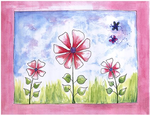 Framed More Pink Flower Land Print