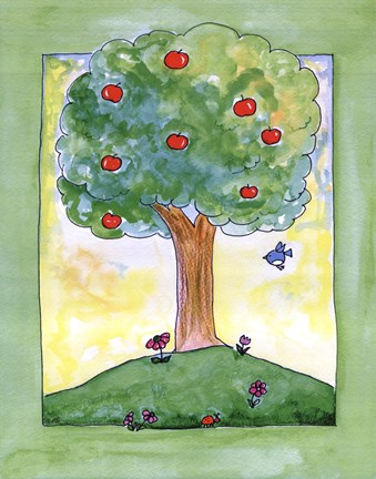 Framed Apple Tree Hill Print
