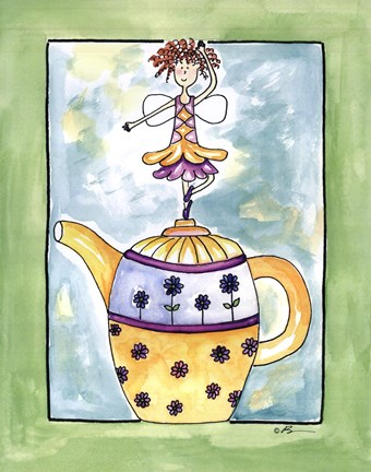 Framed Purple Flower Teapot Fairy Print