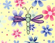 Funky Flower Dragonfly Art